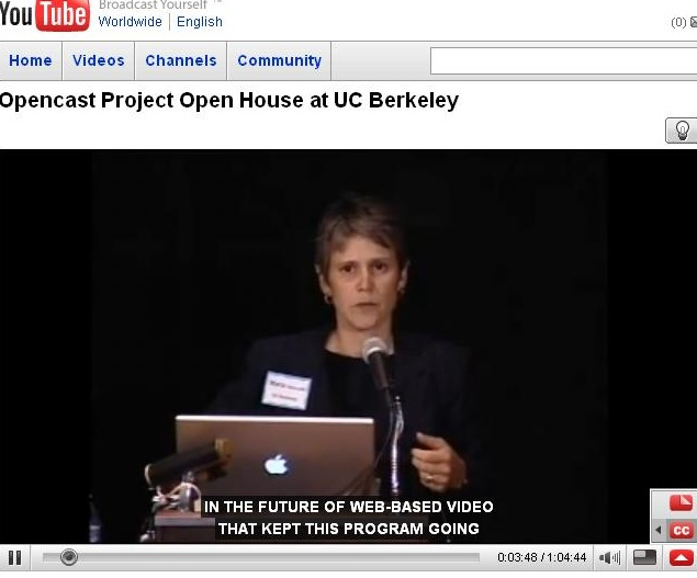 Screen Shot of the U.C. Berkeley Open Cast workshop with Captions done by Automatic Sync