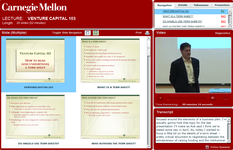 Screen Shot of Class on Venture Captial from Carnegie Mellon University with transcript from AST