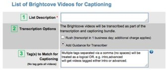 Screen shot of CaptionSync interface for Brightcove
