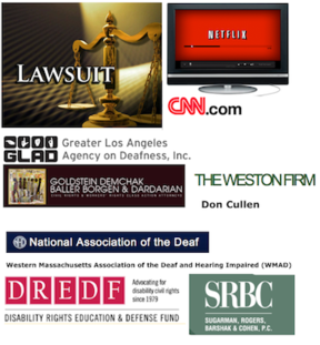 Montage of logos involved in captioning lawsuits