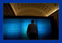 Man Viewing Declaration of Independence image at Library of Congress