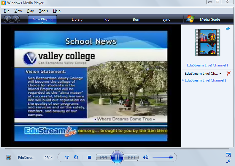 Screen shot of Edustream elearning content with captions