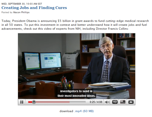 Photo of the White House Blog NIH video with captions