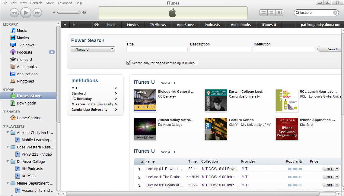 Screen shot of iTunes with power search for captions