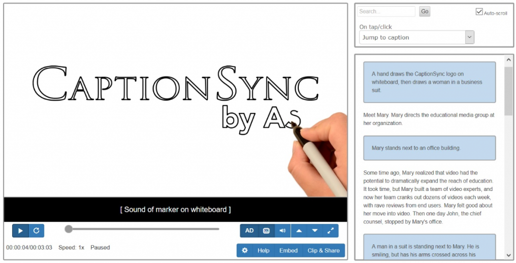 Image of CaptionSync Smart Player displaying captioning and audio description features.