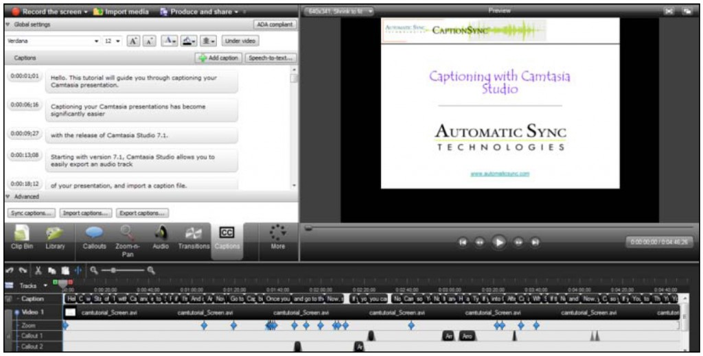camtasia captioning