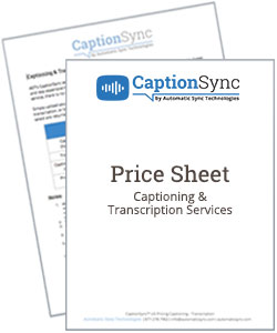 captioning and transcription price sheets