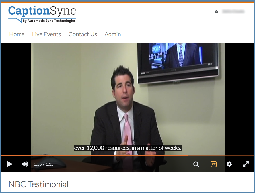 Brighspace Capture player with closed captions