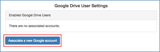 image showing google drive user settings with an option to associate a new google account to enabled drive users