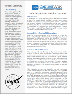nasa training video captioning case study