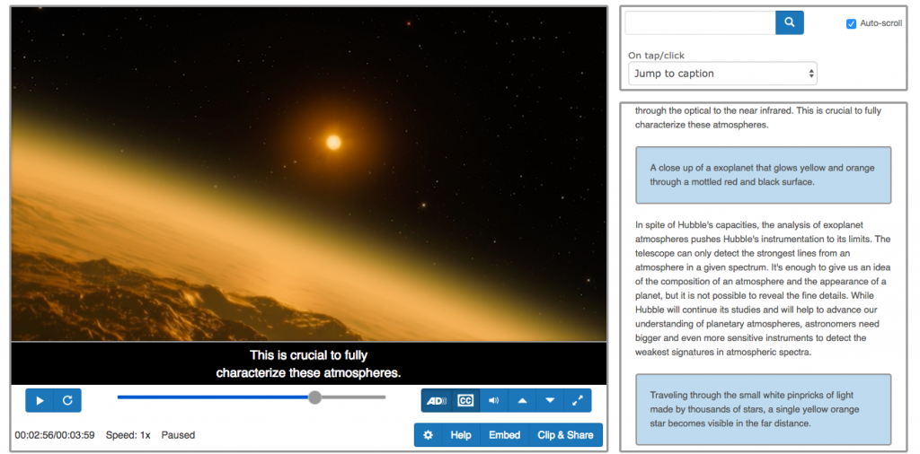 Image showing example of CaptionSync Smart Player with captions and audio description