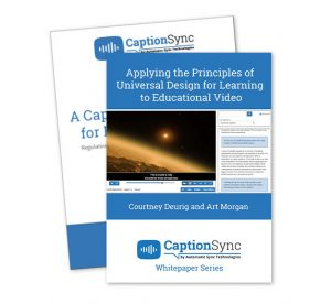 Stacked cover images for Whitepapers A Captioning Handbook for Higher Education and Applying the Principles of Universal Design for Learning to Educational Video