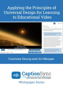 Book cover for Applying the Principles of Universal Design for Learning to Educational Video by Courtney Deurig and Art Morgan