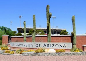 The University of Arizona sign with saguaros in background